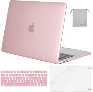 MOSISO MacBook Pro 13 inch Case 2019 2018 2017 2016 Release A2159 A1989 A1706 A1708, Plastic Hard Shell Case&Keyboard Cover&Screen Protector&Storage Bag Compatible with MacBook Pro 13, Pink