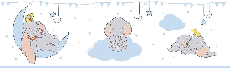 Rasch Textil selbstklebende Papierborte Bordüre - Kollektion Disney Fantasy Deco U35201 Dumbo Elefant weiß blau Raschtextil