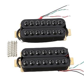 lyws 2pcs imán de cerámica 7 cuerdas Guitarra pastilla Humbucker para guitarra eléctrica pastilla de cuello y puente pastillas, Negro: Amazon.es: ...