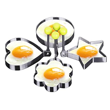 Littlegrass Fried Egg Mold Shaper Rings Stainless Steel Different Shapes Heart, Circle, Star and