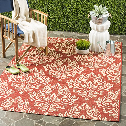 Safavieh Courtyard Collection CY6930-28 Red and Cream Indoor/ Outdoor Area Rug (6'7