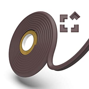 UXU Edge Protector, Fireplace Bumpers for Babies, Furniture Corner Guards, Acrylics Adhesive 2.0, 9.8FT+ 4 Corners with Extra 8.20FT Edge Protector, NBR Foam Rubber, Coffee Brown