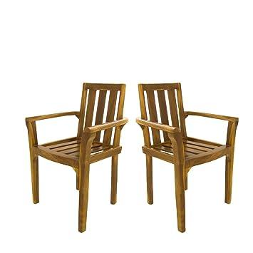Edenjardi Pack 2 sillones para terraza apilables | Madera Teca Grado A | Tamaño: 61x50x88 cm | Tratamiento al Agua aplicado | Portes Gratis