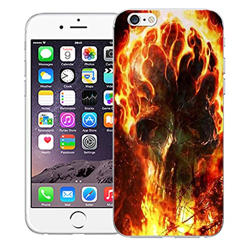 "Mobile Case Mate iPhone 6 Plus 5.5"" Silicone Coque couverture case cover Pare-chocs + STYLET - Fire Blaze Skull pattern (SILICON)"