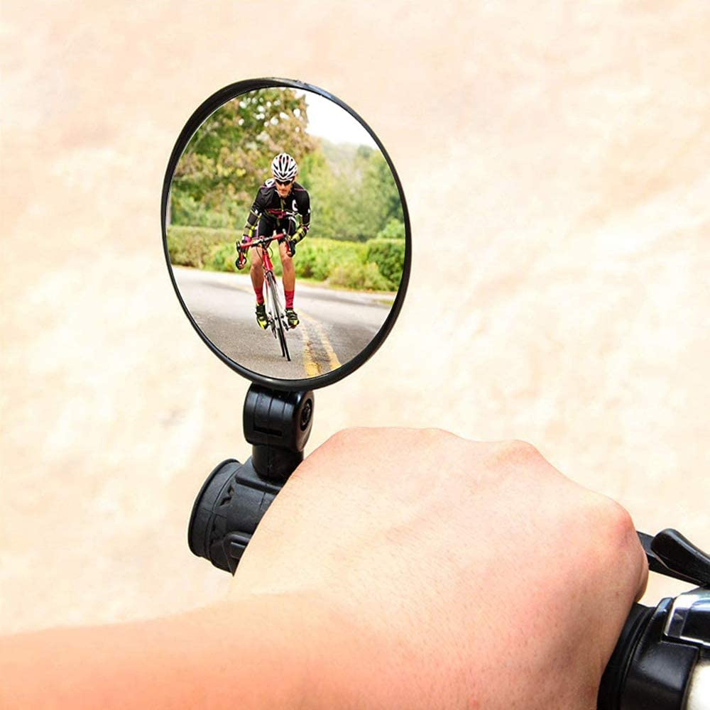 2pcs Bicycle Cycling Rear View Mirrors 360 Degree Adjustable Rotatable Handlebar Mounted Glass Convex Mirror Mountain Road Bike-2Inch Bike Mirrors