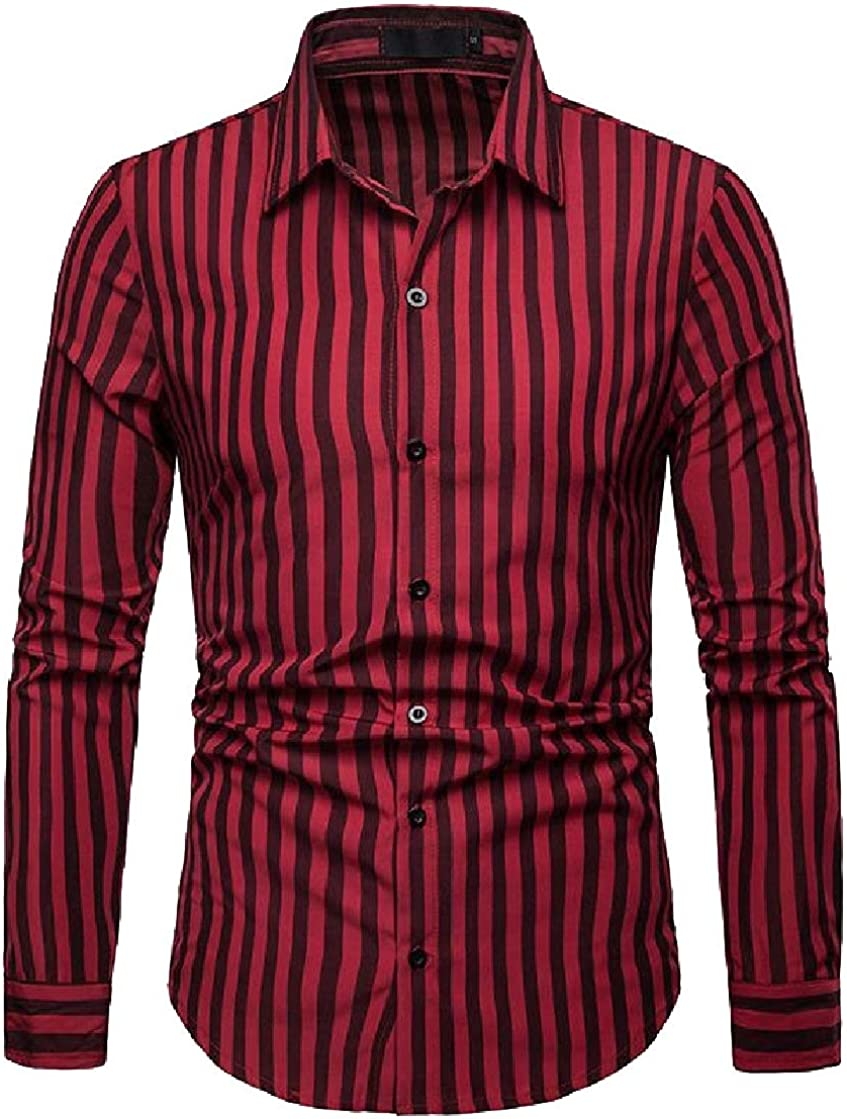 Etecredpow Mens Stripe Classic Fit Casual Long Sleeve Button Down Shirts