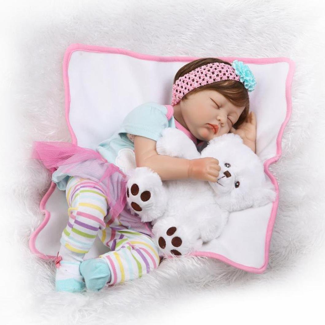 Dirance 22'' Lifelike Reborn Doll Sleeping Soft Silicone Full Body Realistic Bear Plush Toy Girl Doll Vinyl Reallike Newborn Baby Doll Outfits, Kids Gift for Ages 3+,Under 100 Dollars (A)