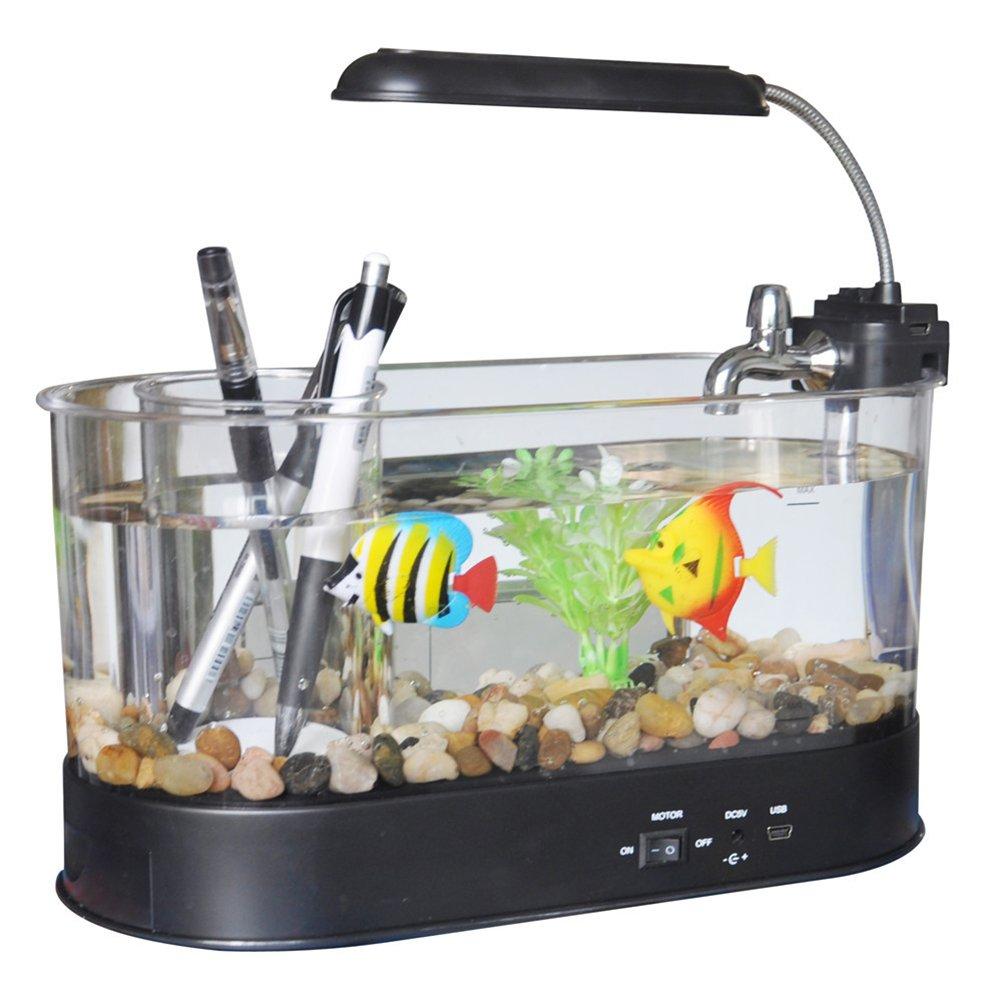Cutepet Aquarium Fish Tank LED Con Filtro E Pompa Dell'acqua 24(L) X 10(W) X 19(H) Cm FA-763084