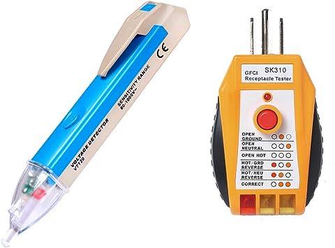 Probador detección de voltaje sin contacto 1000V multímetro toma corriente LED