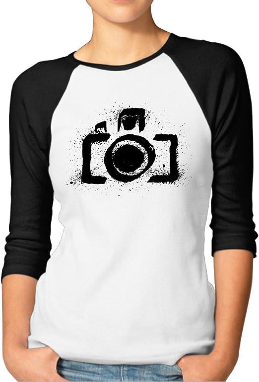 Antigua Fotografía Cámara Funny para mujer 3/4 Manga béisbol camiseta de manga corta para mujer: Amazon.es: Ropa y accesorios