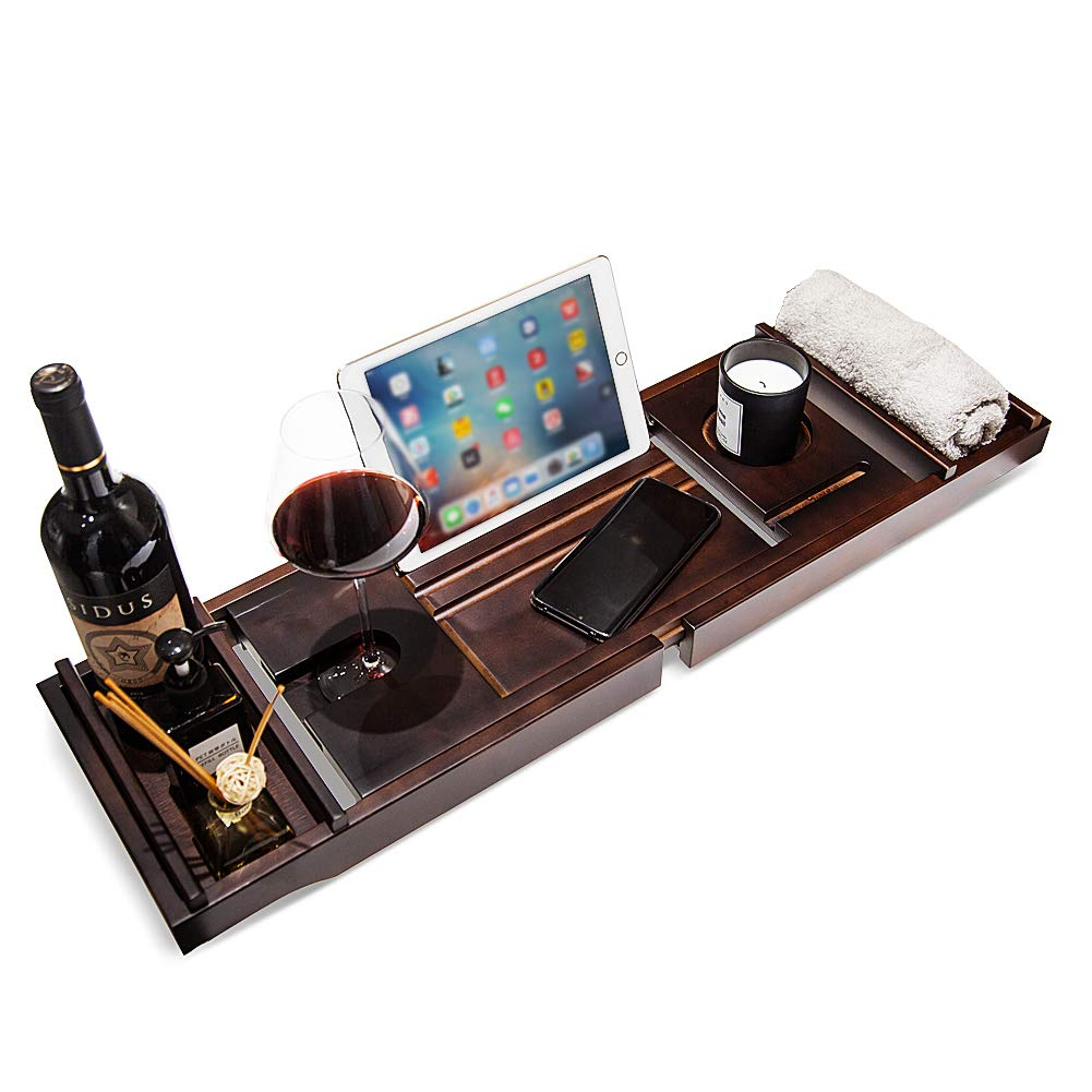 MICraft Luxury Bamboo Bathtub Tray, Premium Bath Caddy with Extending Sides, Book Holder, Tablet Holder, Cellphone Tray & Wineglass Holder