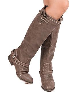 Amazon.com | Top Moda Women's Knee High Riding Mid Calf Combat ...