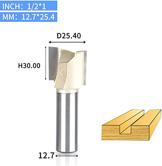 1Pcs 1//4 1//2Shank 2 Flute Straight Bit Woodworking Tools Router Bit for Wood Tungsten Carbide Endmill Milling Cutter,2948