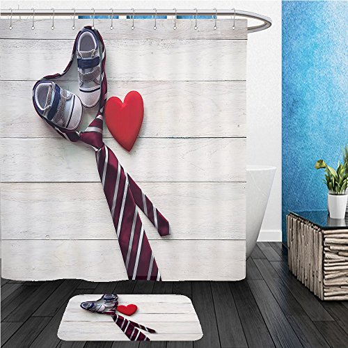 Beshowereb Bath Suit: ShowerCurtian & Doormat happy father s day inscription with colorful tie and watch on wooden background floor background (Tigers Woven Polyester Tie)