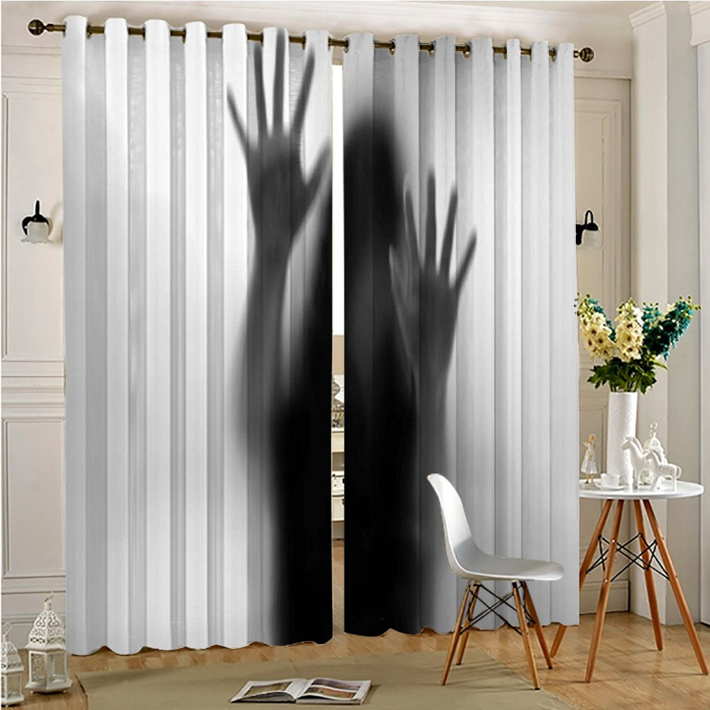 Analisahome Functional Ombre Linen Sheer Curtains Pair Set Silhouette of Woman behind the Veil Scared to Death Obscured Paranormal Photo Gray Grommet Curtains(2 Panels)(2 Panels, 84'' x 84'')