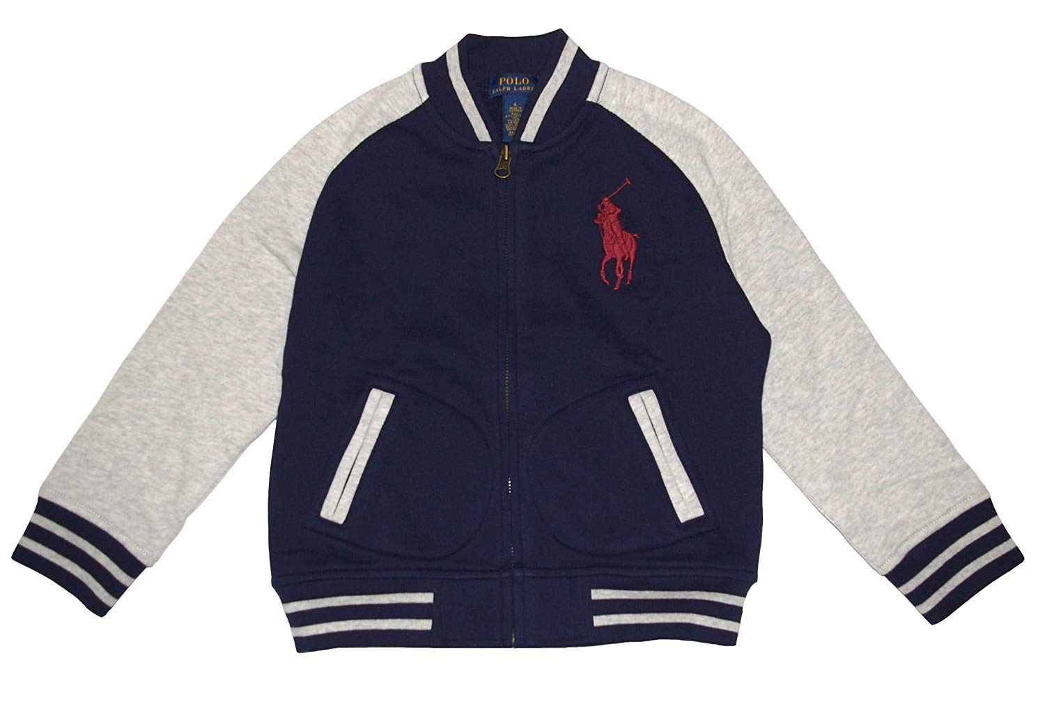 Polo Ralph Lauren Little Boy's Big Pony Fleece Baseball Jacket, French Navy (5)
