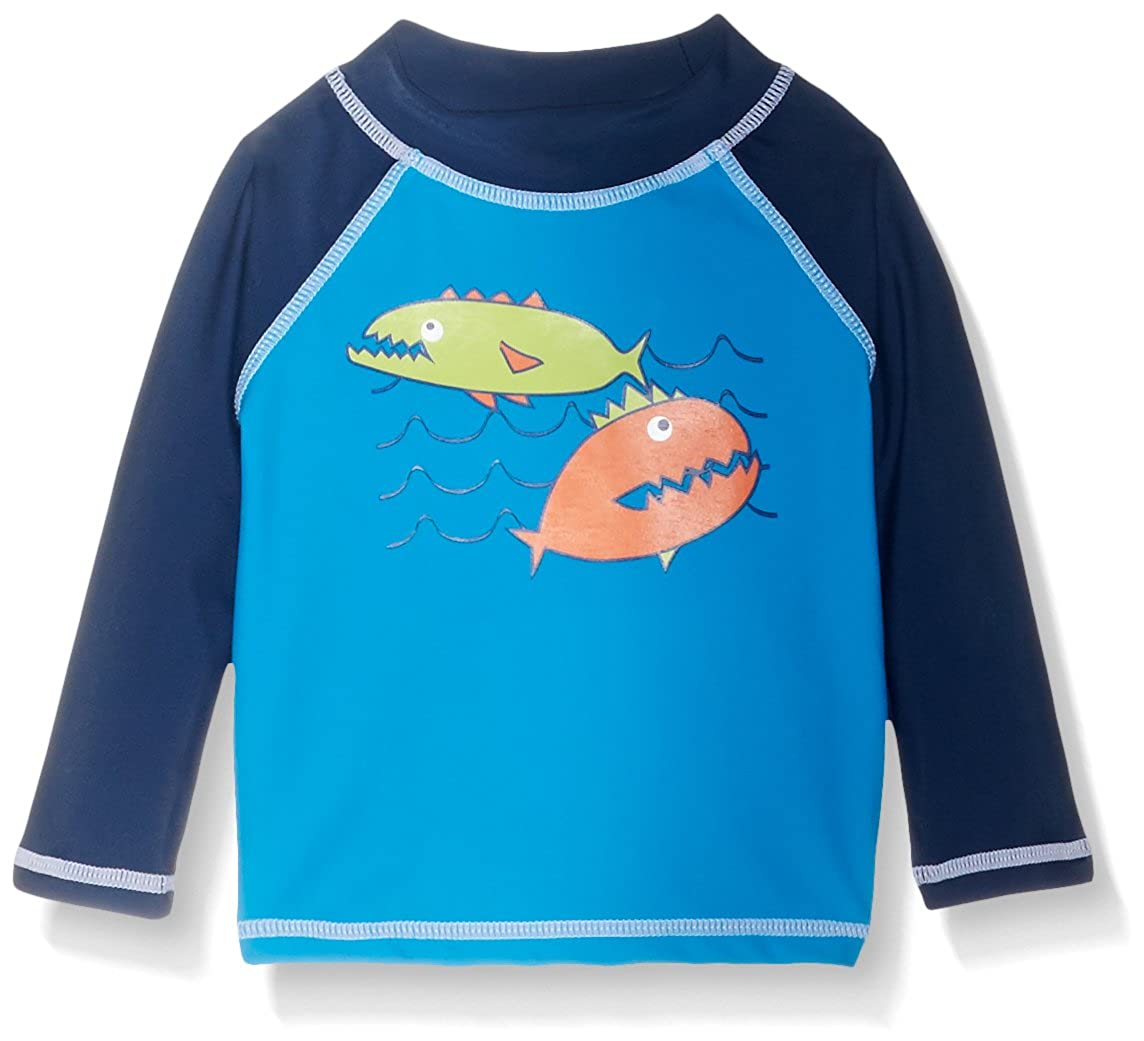 Fish Frenzy Flap Happy UPF 50 Colorblock Rash Guard//Swim Top