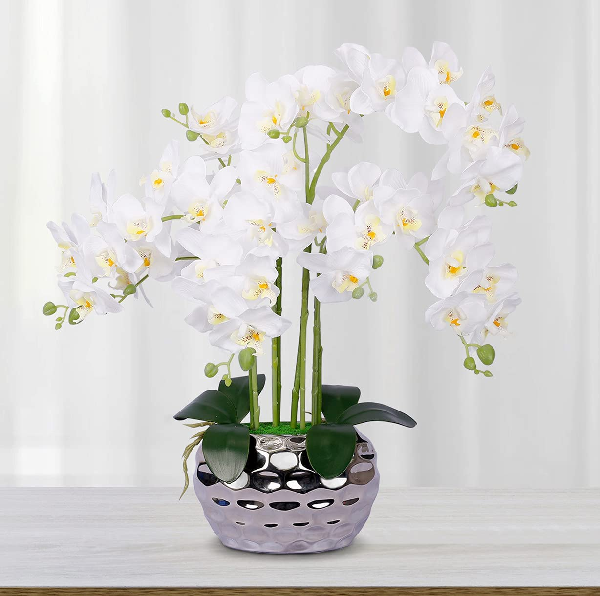 Artificial Orchid White Orchid Artificial Flowers Orchids Fake Faux Orchid Plant Phalaenopsis Silk Orchid Flower for Home Decor Kitchen Decoration Table centerpieces White with Silver vase