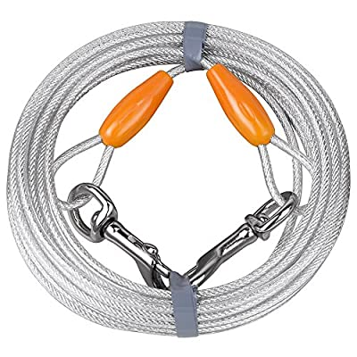 BV Pet Reflective Tie-Out Cable for Dogs up to 90 / 125 / 250 Pound in 25 or 30 Feet, Multi-dog Size Options from BV