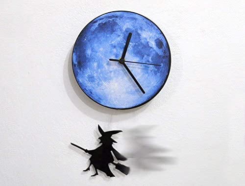 Halloween Witch Swinging on the Moon – Pendulum Wall Clock