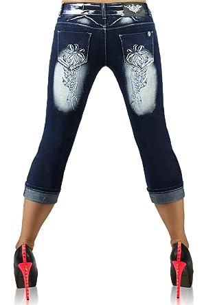 09802e598be Plus Size Shorts Women s Denim Tattoo Capri Jeans Cropped Size UK 14 ...