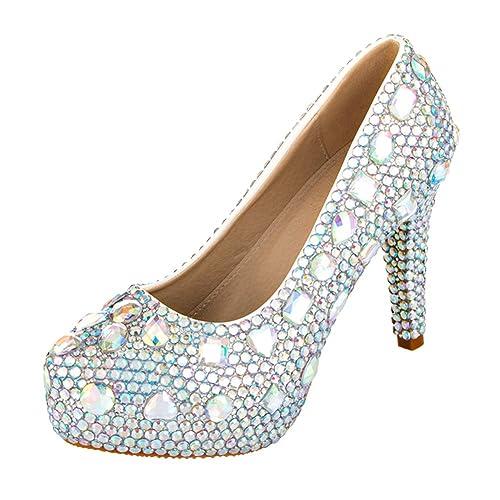 3a81b5d12 VELCANS Zapatos de Diamantes de Imitación Tacón y Plataforma pare Boda