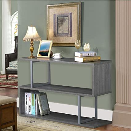 Yaheetech 3 Tiers Sofa Console Table Narrow Display Rack S Shaped Accent  Table Hall/Entryway