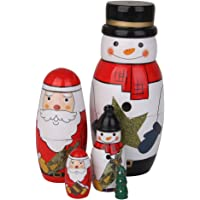 HOMYL 5 Pieces Santa Claus/Snowman/Xmas Tree Nesting Dolls Christmas Russian Matryoshka