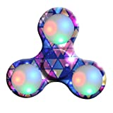 Oyedens LED Light Tri-Spinner Fidget Toy Hand Spinner Stress Reducer Relieve Anxiety and Boredom Camo (Colorful C)