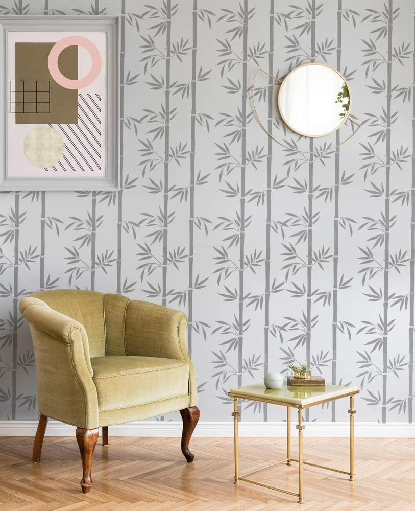 Bambus Muster Schablone Gro/ß Malerei Schablone Farbe Bambus Tapete Effekt Verwenden auf Stoffe /& M/öbel,Wiederverwendbar Bambus Wohndeko MEDIUM