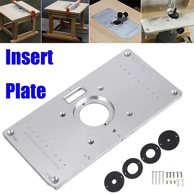 Router Platte 235mm x 120mm x 8mm Aluminium Router Tabelle Insert Plate f/ür Holzbearbeitungstische Router Tischeinsatzplatte mit 4 Ringen und Schrauben Einsatz Router Tisch Banken Holz Drehbank