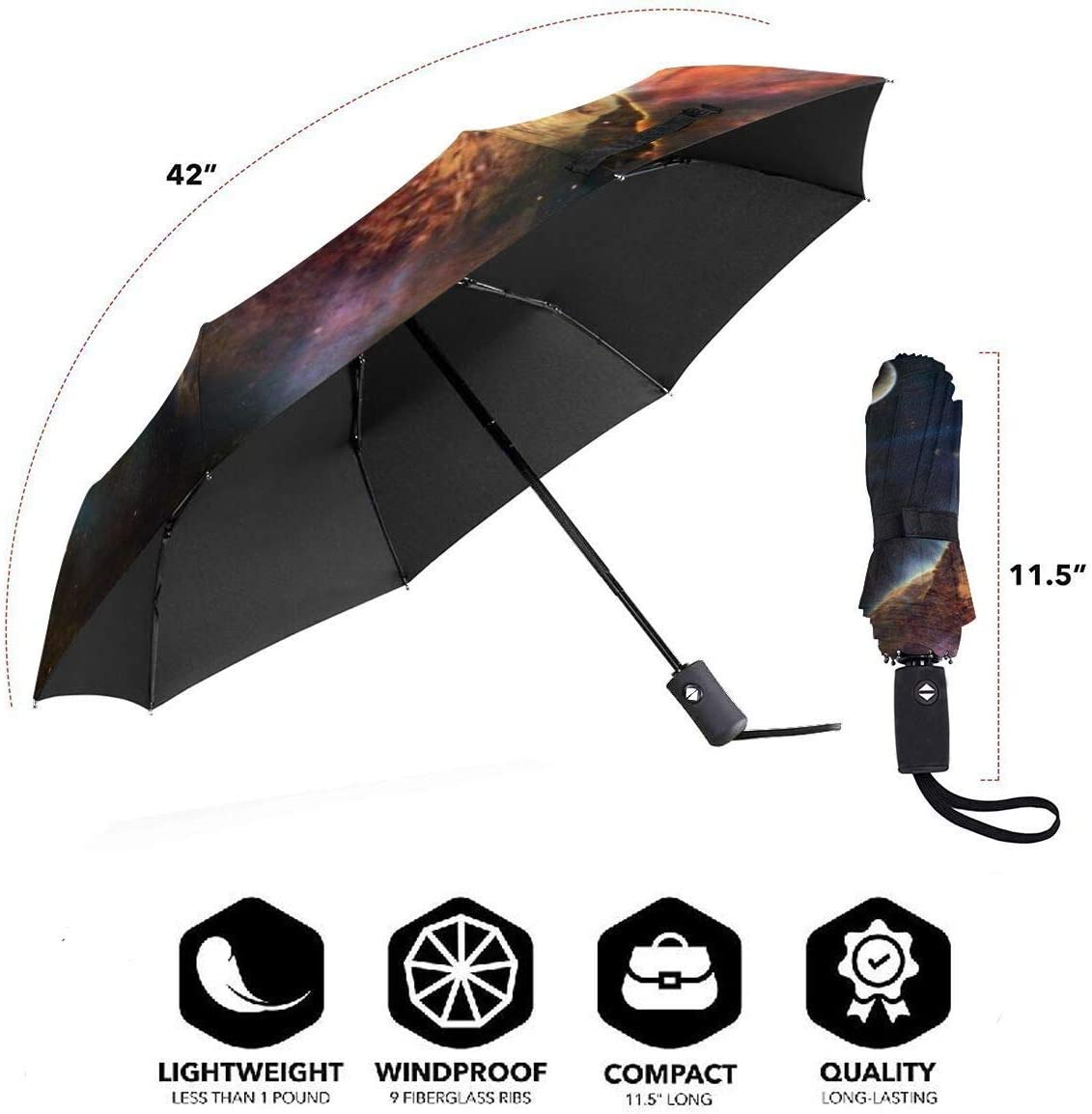 Cats From Outer Space Windproof Automatic Tri-Fold Foldable Umbrella Cartoon UV Protection Travel Unbreakable Compact Portable Sun Rain Umbrella