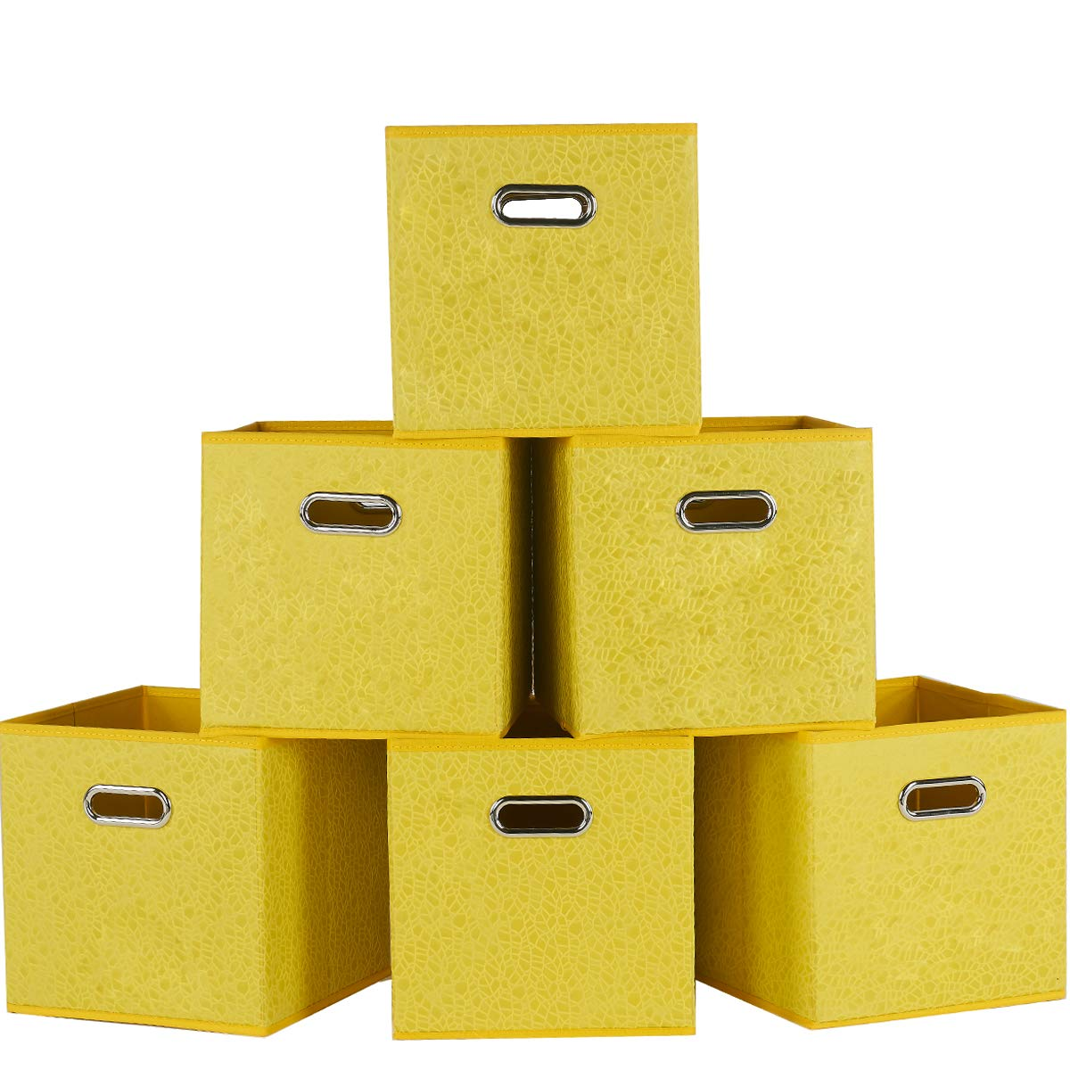 SHACO Durable Double Metal Handle Cloth Storage Cubes, Embossed with Tree Bark Print Yellow Foldable Cube Storage Bins(6 Packs)