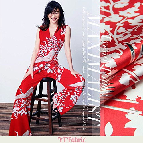 Red Elastic Silk Satin Fabric with Bird Print Pattern, Designer Fashion Printed Stretch Silk Satin Fabric By the Yard