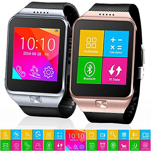 Indigi Innovative SWAP Gear Bluetooth Smartwatch Wireless Phone For All iPhone and Galaxy SmartPhones (Silver)