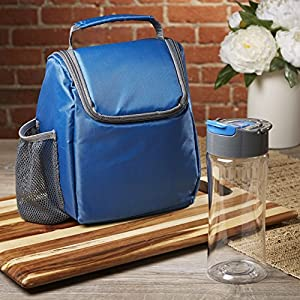 Fit & Fresh Insulated Lunch Bag with Matching 16 oz. Tritan Plastic Water Bottle, Lunch Box Set for Kids and Adults, Navy/Gray