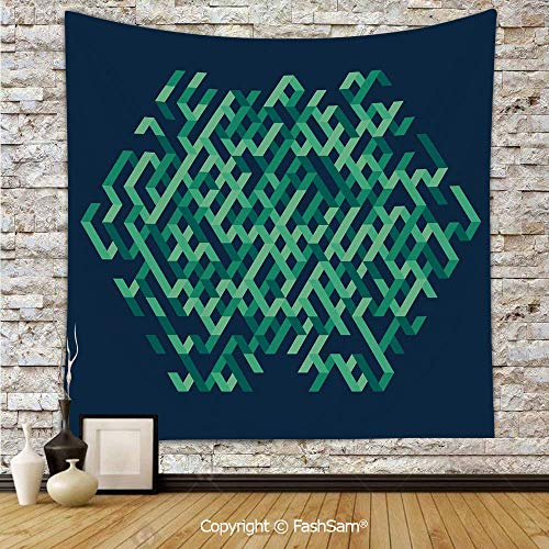 FashSam Polyester Tapestry Wall Geometric Ombra Colored Lines Maze Like Circle Round Seem Decorative Image Hanging Printed Home Decor(W39xL59)]()