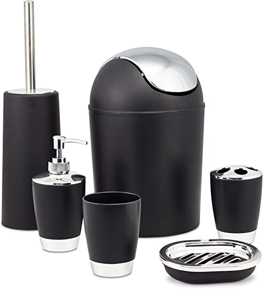 Amazon.com: Zuvo 6 Pcs Plastic Bathroom Accessory Set Luxury Bath  Accessories Bath Set Lotion Bottles, Toothbrush Holder, Tooth Mug, Soap  Dish, Toilet Brush, Trash Can, Rubbish Bin (Black): Home & Kitchen