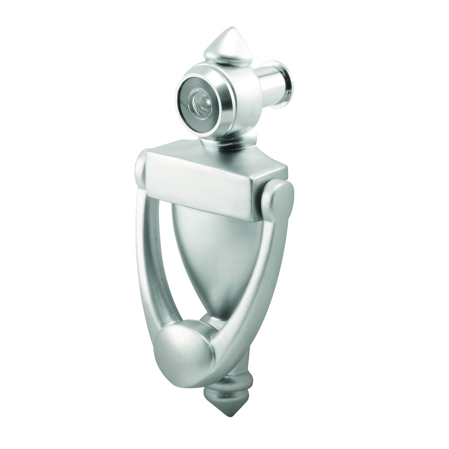 Prime-Line MP10327 Door Knocker and Viewer, 9/16 in. Bore, 160-Degree View Angle, Satin Nickel, Pack of 1
