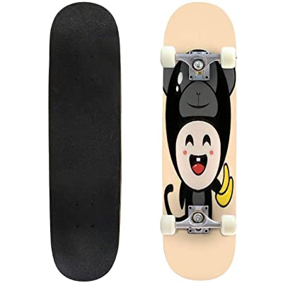 Classic Concave Skateboard Cute Cartoon Monkey Vector Design Monkey Mascot Longboard Maple Deck Extreme Sports and Outdoors Double Kick Trick for Beginners and Professionals : Sports & Outdoors