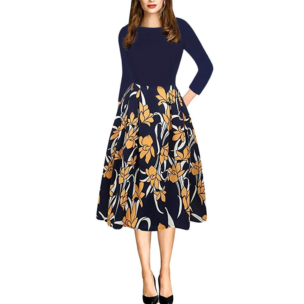 KYLEON Dress for Women A-Line Pocket 3//4 Sleeve Boho Floral Elegant Loose Party Casual Summer Midi Swing Dress with Belt