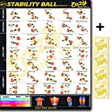Eazy How To Stability Ball Exercise Workout Poster BIG 51 x 73cm Train Endurance, Tone, Build Strength & Muscle Home Gym Chart