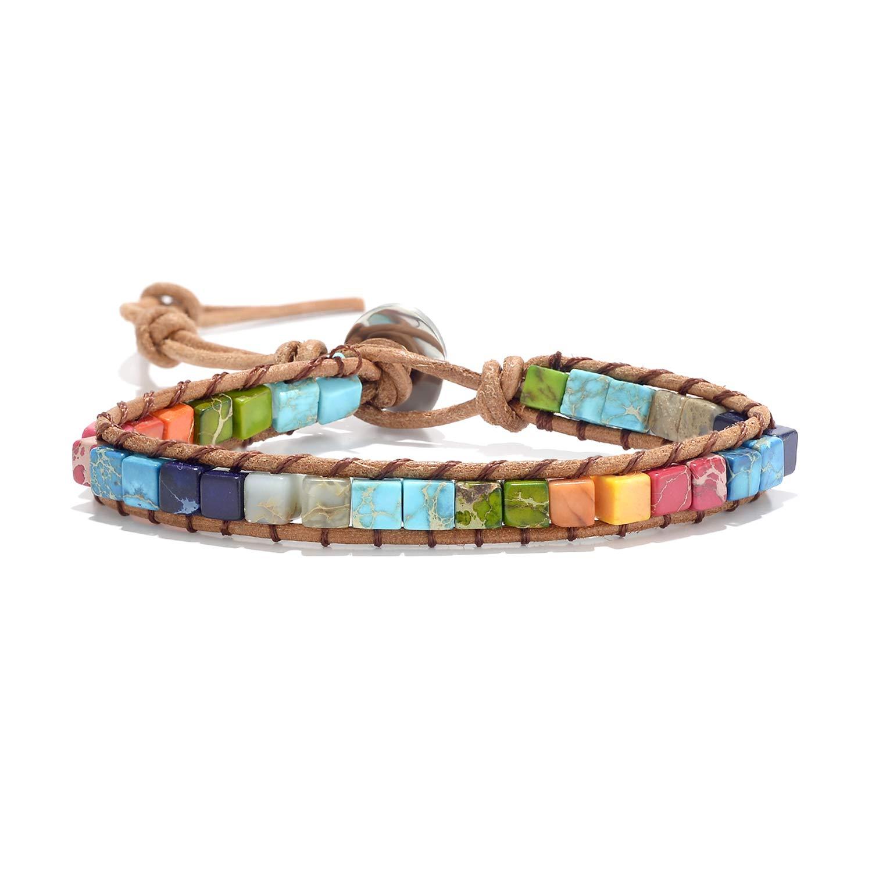 7 Chakra Weave Bracelets Wrap Bracelet Best Friend Charm Healing Bracelets Gemstone Bracelets Gem Bracelets Woven Bracelet Yoga Bracelets Multicolor Leather Bracelets Adjustable for Women Girls by sedmart