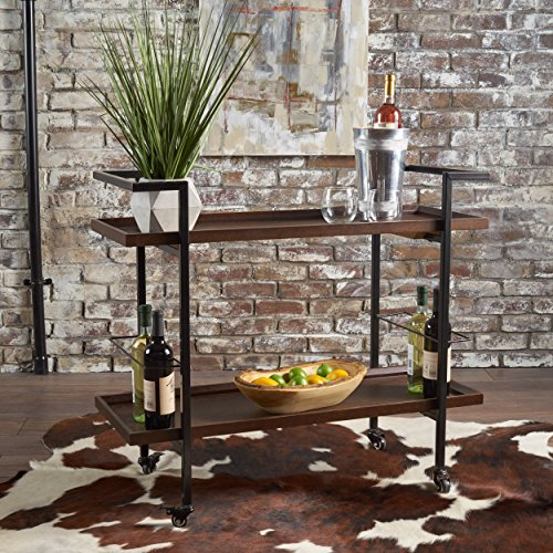 Gerard Industrial Dark Walnut Finished Wooden Bar Cart