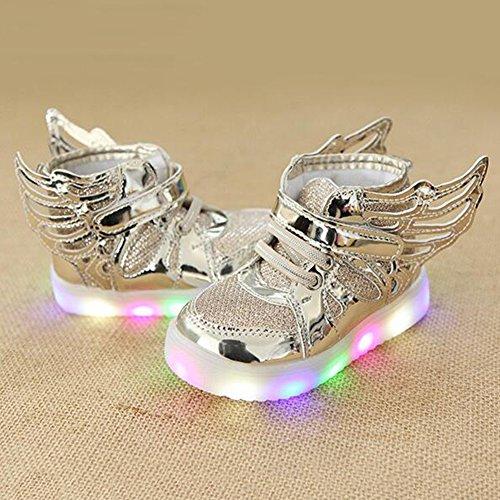 hibote Jungen Mädchen Light Up Schuhe Prewalker Engels Flügel Solf Turnschuhe gold 1