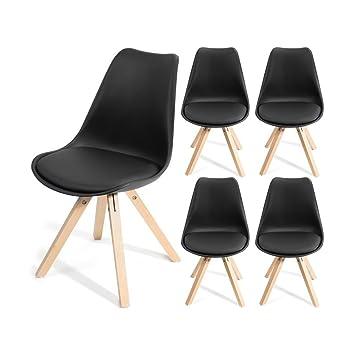 HomeKraft Fjone Wohnzimmerstühle Esszimmerstühle Designerstühle Sitzgruppe  Essgruppe (1 Stuhl), Polypropylen, Schwarz,