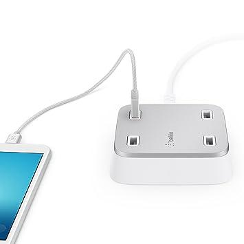 Belkin Family Rockstar - Cargador doméstico con 4 puertos USB, 27 W, 5.4 A repartidos y cable de 3 metros (compatible iPhone 8/8+ et iPhone X, Xs Max, ...