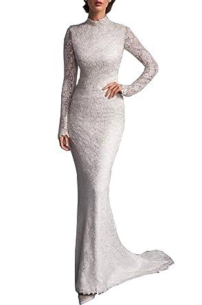 Datangep Women\'s High Neck Button Back Full Lace Mermaid Wedding ...