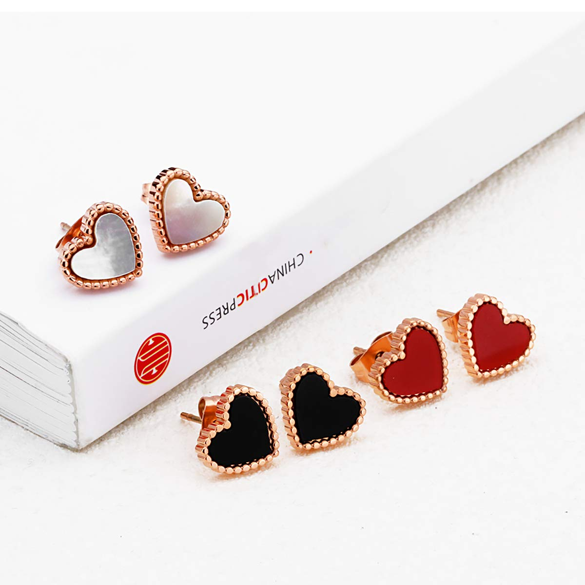 3 Pairs Love Heart Stud Earrings Set Stainless Steel Heart Earrings Set