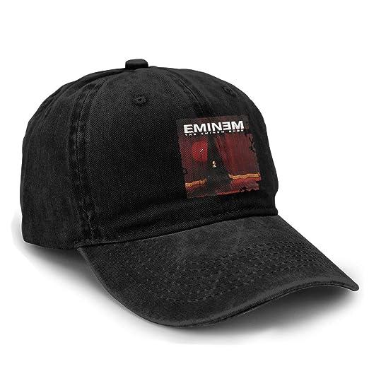 Mens and Womens Unisex Eminem Fashion Washed Adjustable Baseball Cap Dad Hat Black
